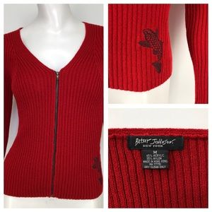 Betsey Johnson M Red Ribbed Koi Sweater Full Zip